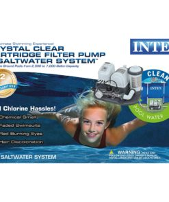 Intex 28673EG Krystal Clear Cartridge Filter Pump & Saltwater System with E.C.O. (Electrocatalytic Oxidation) for Above Ground Pools, 110-120V with GFCI