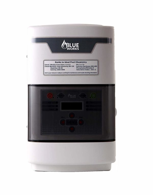 BLUE WORKS Salt Water Pool Chlorine Generator System BLSC Chlorinator| Free Flow Switch | 5 Year Limited Warranty | Cell Plates Made in USA (40,000 Gallon, White Cell)