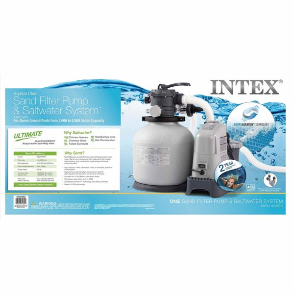 Intex Krystal Clear 1500 GPH Sand Filter Pump & Saltwater System with E.C.O. (Electrocatalytic Oxidation) for Above Ground Pools, 110-120V with GFCI