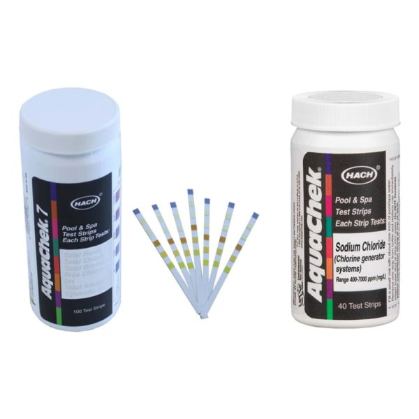 AquaChek Silver 7-Way Pool Chlorine/pH Test Strips + White Salt Titrator Strips