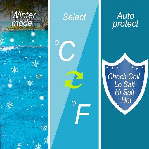 BLUE WORKS Salt Water Pool Chlorine Generator System BLSC Chlorinator Compatible with Hayward Goldline Aquarite Plumbing for 10K Above Ground Pool & Flow Switch 3