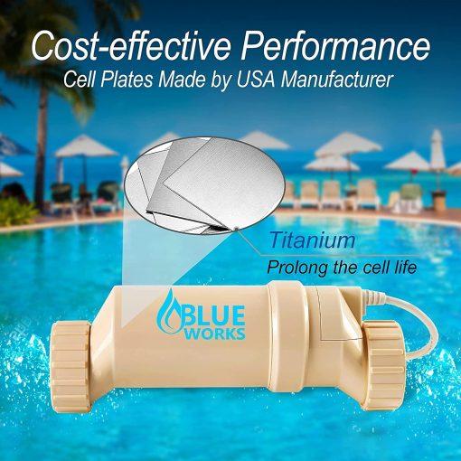 BLUE WORKS Salt Water Pool Chlorine Generator System BLSC Chlorinator Compatible with Hayward Goldline Aquarite Plumbing for 10K Above Ground Pool & Flow Switch 4