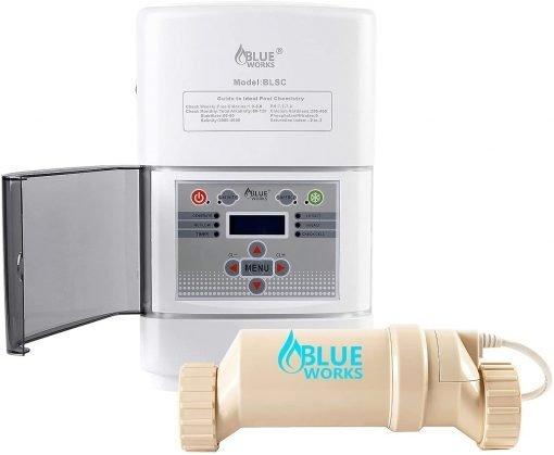 BLUE WORKS Salt Water Pool Chlorine Generator System BLSC Chlorinator Compatible with Hayward Goldline Aquarite Plumbing for 10K Above Ground Pool & Flow Switch