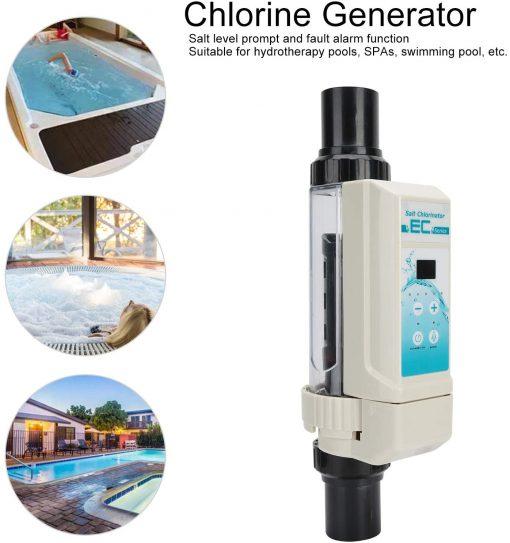 Deror 16g-h Pool Salt Chlorinator,Saltwater Chlorine Generator Electrolysis Salt Chlorinator for Pool Hot Tub Spa 100‑240V 3