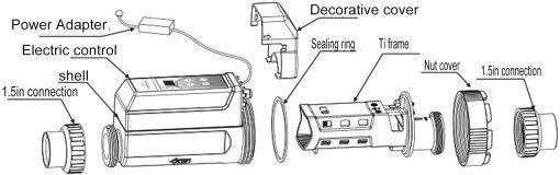Deror 16g-h Pool Salt Chlorinator,Saltwater Chlorine Generator Electrolysis Salt Chlorinator for Pool Hot Tub Spa 100‑240V 6